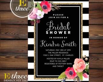 Floral Bridal Shower Invitation - Black and White Stripes, Gold Glitter, Watercolor - Pink, Coral, Gold - Modern Shower #1011