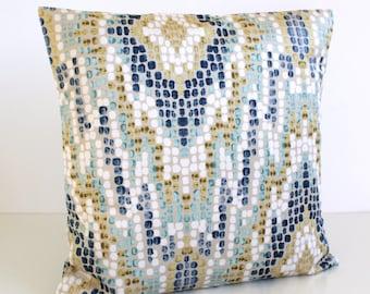 Ikat Pillow Cover, 16 Inch Pillow Sham, 16x16 Cushion Cover, Velvet Pillows - Ikat Velvet Blue