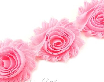Light Pink Shabby Flowers 2-1/2 inches - Shabby Trim, Shabby Rose Trim, Shabby Flowers by the Yard, Shabby Flowers Wholesale, Chiffon Trim