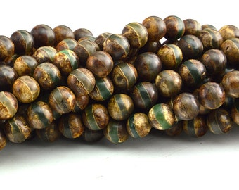 "14""  Antique Tibetan Agate Dzi  Round  Beads One Line , Dzi bead  Antique Agate ,Tibet Beads"