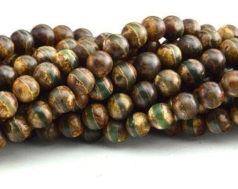 "14""  Antique Tibetan Agate Dzi  Round  Beads One Line , Dzi bead  Antique Agate ,Tibet Beads"