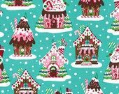 Holiday Gingerbread houses in aqua - Michael Miller Christmas cotton quilting fabric - BTY