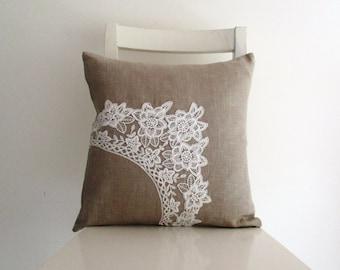 Romantic White Cotton Lace on Pure Linen 16 x 16 Cushion cover