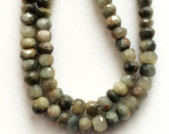 Cats Eye Stone, Cats Eye Faceted Rondelle, Green Cats Eye Beads, Chrysoberyl, Cats Eye Necklace, 5mm Beads, 13 Inch Strand