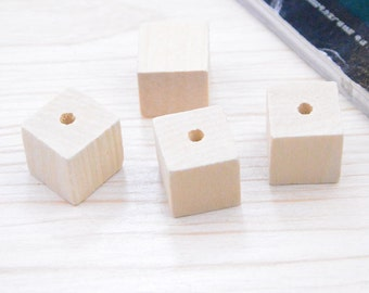10pcs square wood unfinished natural wood blocks cube wood bead 20mm