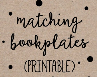 Matching Bookplate, Sticker, Label, Printable, Book, Baby Shower, DIY Digital File, match any invitation design by OhCreativeOne