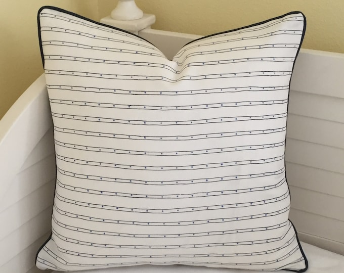 Quadrille China Seas Adam Campbell Soho Designer Pillow Cover with Navy Piping - Square, Lumbar and Euro Sizes