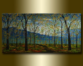 Seasons Tree Textured Palette Knife Autumn Landscape Painting Oil on Canvas Original Modern Art 20X40 by Willson