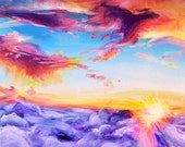 Just Like Heaven, Colorful Sunrise/Sunset Skyscape A4 Fine Art Painting Print
