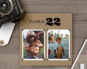Wedding Photo Table Numbers, Square, Table Numbers, Old Pictures tn0012