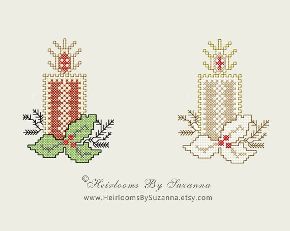 Candle With Holly Machine Cross Stitch By HeirloomsBySuzanna