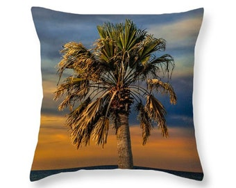 Aransas Pass Harbor Palm Tree at Sunrise in Corpus Christi Bay by the Gulf of Mexico No.0535B novelty pillow Home Décor cushion cover