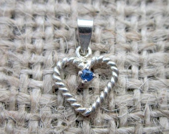 intage Sterling Silver Twisted Heart Sapphire Pendant - September birthstone