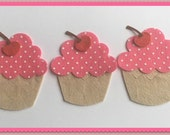Felt Die Cupcake with Cherry Set of 3 Either Pink Polka Dot or Plain Pink Birthday Celebration Toppers Sewing
