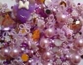 Kawaii purple flatback pearls rhinestones mix decoden deco diy # 404 more than 400 pcs--USA seller