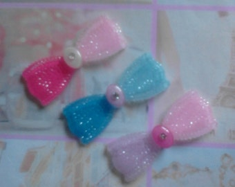 Kawaii sparkling bow cabochon decoden deco diy charm 3 pcs---USA seller