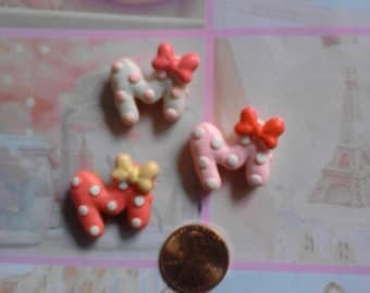 Kawaii pink M cookie with red bow cabochons  3 pcs---USA seller