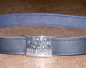 Leather Custom Tag Collar for Greyhounds - Black