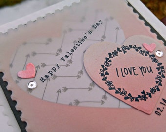 I Love You Valentine Handmade Greeting Card in Coral and Gray