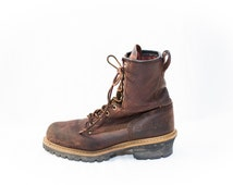 brown Carolina genuine leather work lace and hook boots - mens size 9 M - steel toe oil resistant