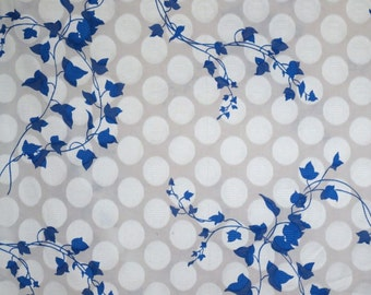 Delicate Cobalt Blue on White Ivy Print Pure Cotton Clipped Dot Jacquard Fabric--By the Yard