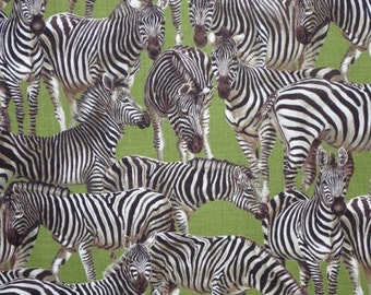 ON SALE Zebra Print in Brown on Olive Pure Cotton Fabric--One Yard