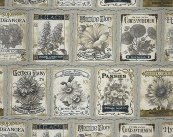Charming Sage and Olive Sew Vintage Garden Print Pure Cotton Fabric--One Yard