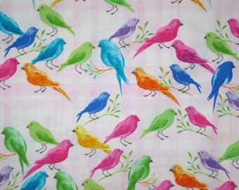 Bright Birds on Pale Pink Plaid Background Print Pure Cotton Fabric--One  Yard