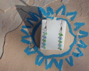earrings of greens and blues