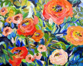 Rose Garden Large Landscape Original Painting  36 x 36 Fine Art by Elaine Cory