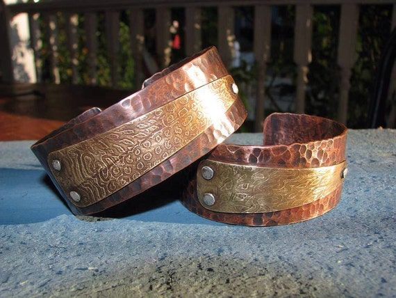 Copper Bracelet, Hammered Copper Cuff, Mens Cuff, Women's Bracelet, Copper Cuff, Mixed Metal Bracelet, Gift for Mothers Day, Rustic Jewelry