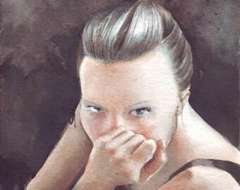 HM012 Original watercolor painting art Woman Portrait by Helga McLeod
