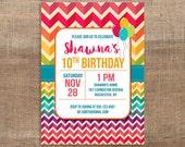 Rainbow Birthday Invitation, Girls Birthday Party Invite, Rainbow Chevron, DIY PRINTABLE