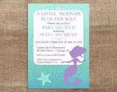 Mermaid Baby Shower Invitation, Little Mermaid Baby Girl Shower, Purple, Aqua, PRINTABLE
