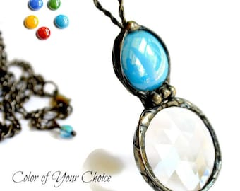 Stained Glass Jewelry,  Kaleidoscope Jewelry, Long Necklace, Your Choice of Color, Stained Glass Prism, Stained Glass Necklace  (2472)