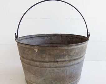 Vintage Grey Zinc  Galvanized Farm Pail Bucket