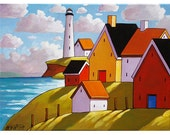 Lighthouse Hillside Cottage View Art Print Seascape, 8x11 Folk Art Coastal Colors Landscape Reproduction Artwork by Cathy Horvath Buchanan