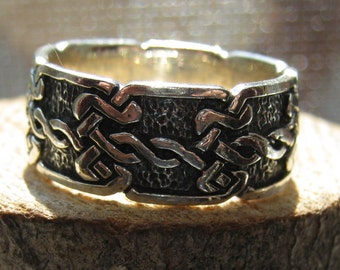 Vintage Sterling Silver Men's or Women's Celtic Knot Braided Silver Band Size 8 1/2