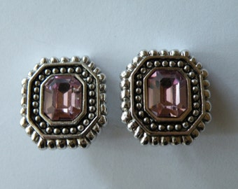 Ciner pink or light amethyst silver plated clip-on earrings.