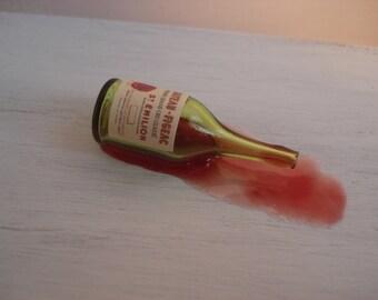 Dollshouse miniature spilled bottle of  wine 1:12 scale