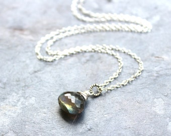 Labradorite Necklace Sterling Silver Teardrop Faceted Blue Grey Gemstone Necklace