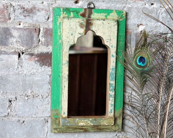 Mirror Reclaimed Vintage Indian Door Panel Wall Hanging Art Distressed Bright Green and Yellow Mirror Moroccan Decor Turkish