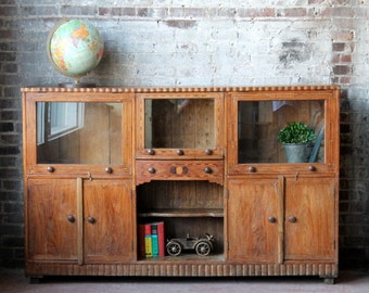 Sideboard Reclaimed Mid Century Era Antique Buffet Indian Inlay Buffet Media Cabinet Global Decor Natural Color Wood