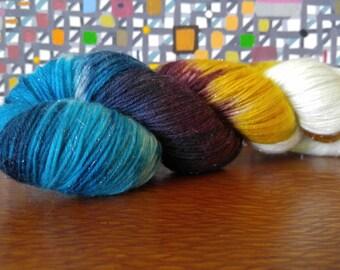 Hand Dyed Fingering Weight Superwash Merino Nylon Stellina Sock Yarn- Sparkle Arabian Nights 462 yards