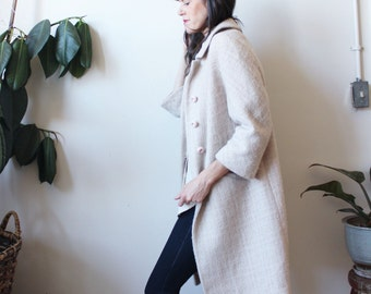 vintage 1960's boucle jacket, long champagne trench coat