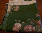 """Vintage Fabric by Sanderson, """"Lincoln"""" Gorgeous cottage flowers on moss green, 1+ yds"""