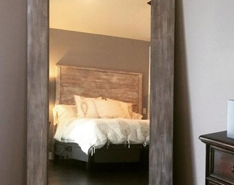 "Hand crafted ""reclaimed wood"" floor mirror and headboard"