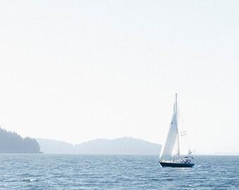 Summer SailingPrint, Nautical Image, Art, Photography, Cottage Scene, Beach Home Decor, Blue and White Print, Fine Art Print