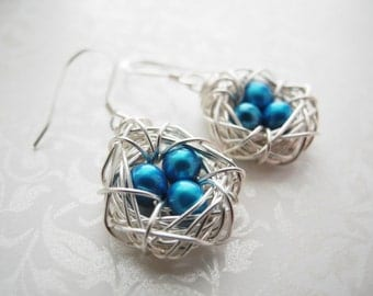 Bird Nest Jewelry, Three Eggs in a Nest Earrings, 5mm Robin's Egg Blue Cultured Freshwater Pearls