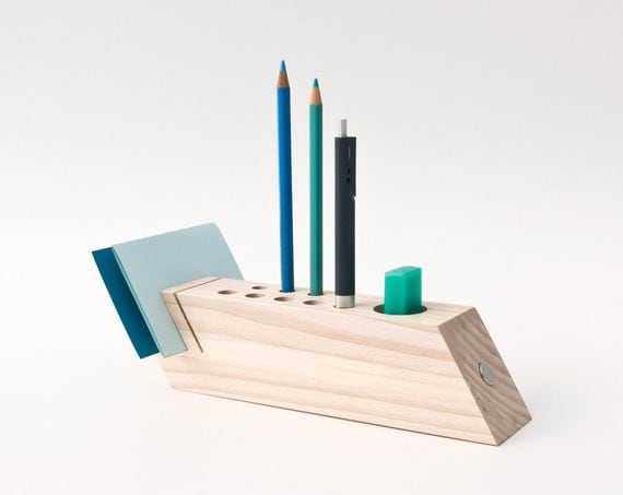Desk Caddy Wood Desk Organizer Office Accessories Wood Pen Pencil Holder FELICIA